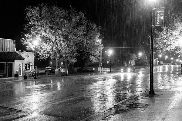 Photo of rainy Downtown Blue Springs