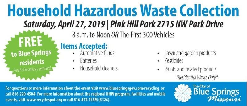 City hosts Household Hazardous Waste Recycling on April 27